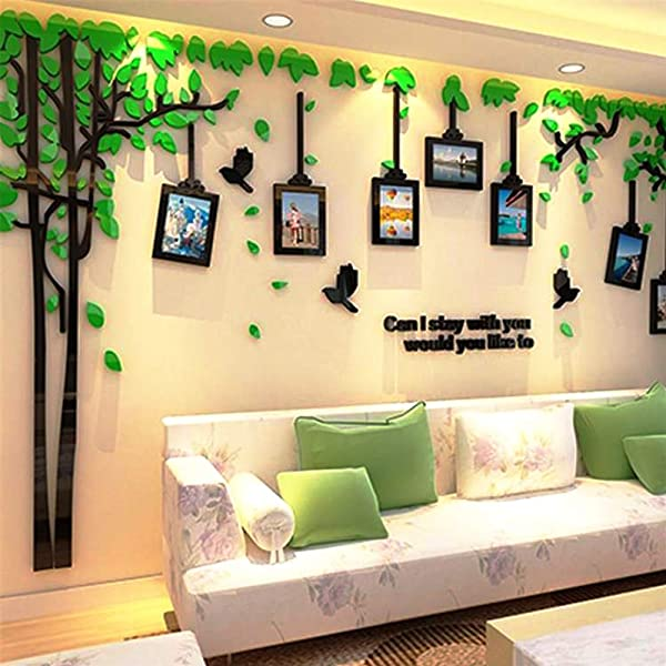 Green 3D Acrylic Couple Tree And Bird Photo Frames Art Wall Sticker For Warm Family Livingroom Kid Room Sofa Backdrop TV Wall Background Beautiful Applique Wall Art Mural Easy To Paste Without Falling