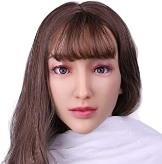 Soft Silicone Realistic Female Head Mask Hand-Made Face for Crossdresser Transgender Costumes Disguise 3G