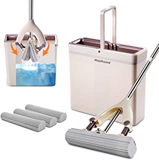 PVA Sponge Roller Mop and Bucket Set Self Wringing with 3 Super Absorbent Sponge Heads Refills with Long Handle for Hardwood Laminate Tile Marble Ceramic Vinyl Floors Both Dry Wet Use