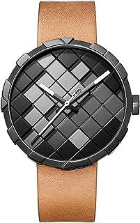 Z-qing - Z-qing Elegante Reloj de Hombre Original con Esfera de píxel y Correa de Cuero Casual Relojes de Pulsera de Cuarzo analógico para Hombre con Caja de Regalo,C