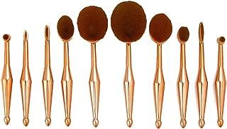 Deals 10 Piece Metallic Gold Oval Makeup Brush Set