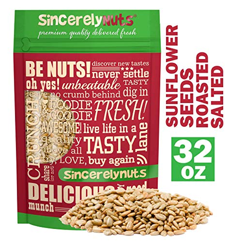 Sincerely Nuts Sunflower Seeds Roasted and Salted (No Shell) (2 LB)- Gluten-Free Food, Vegan, and Kosher Certified Snack-Nutritious and Satisfying-Crunchy and Ready to Eat-Freshness Guaranteed