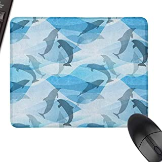 Polyester Cloth Mouse Pad Sea Animals Dolphin Fish Pattern Silhouette Under The Sea Waves in Contemporary Design Easy to Operate,15.7