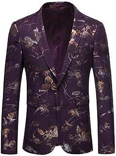 Nuevo Traje de Vestir de Boutique Informal para Hombres/Chaqueta de Chaqueta de Chaqueta con Traje Floral Delgado de un botón para Hombres