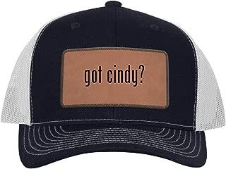 One Legging it Around got Cindy? - Leather Dark Brown Patch Engraved Trucker Hat