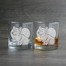 CORGI DOG Cocktail Glass Set of 2 dishwasher-safe etched whiskey lowballs