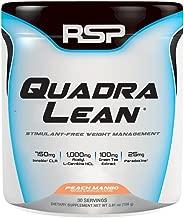 RSP QuadraLean Stimulant Free Fat Burner Powder, Weight Loss Supplement, Appetite Suppressant & Metabolism Booster, Diet Powder for Men & Women (Peach Mango, Powder, 30 Servings)