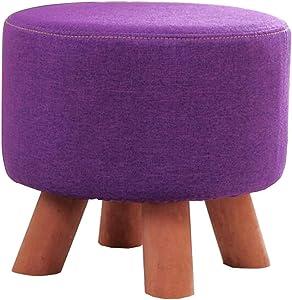 HUYYA Ottomane e Poggiapiedi Round, Pouf Sgabello Lino Cassapanca Sgabello Tinta unita Modern Home Living Room Bedroom,purple_11.2 * 11.2in