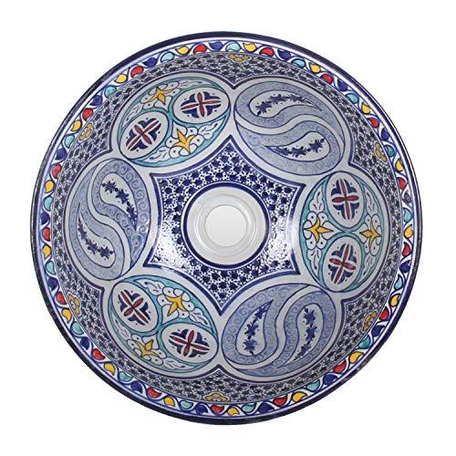 Mediterrane Keramik-Waschbecken Fes104 rund Ø 40 cm bunt H 18 cm Handmade Waschschale | Marokkanische Handwaschbecken Aufsatzwaschbecken für Badezimmer Küche Gäste-WC