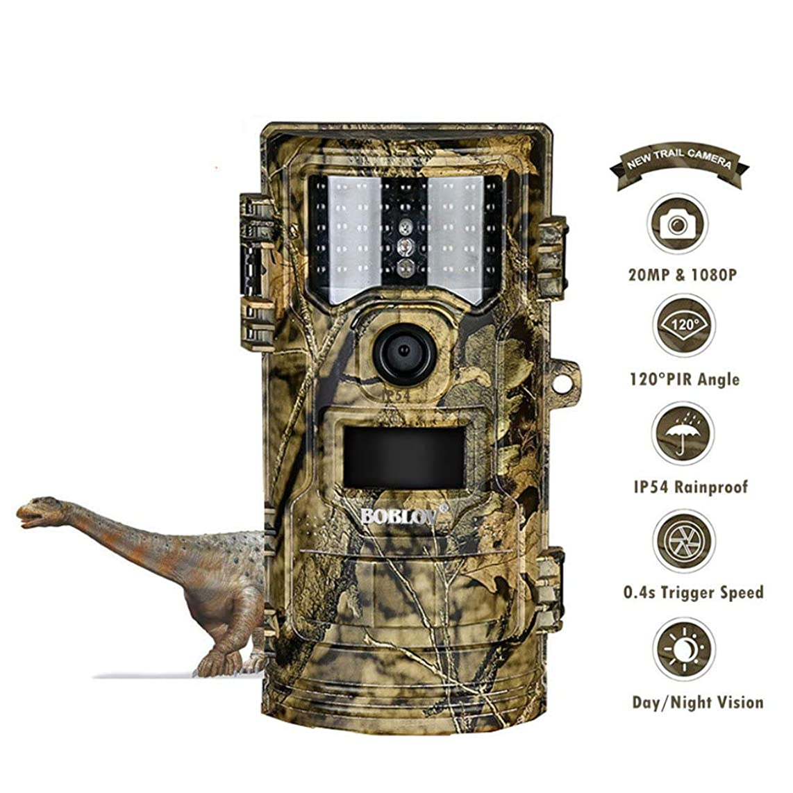 DUANJ Trail Camera 20MP 1080P, Game Camera with No Glow LED Infrared Night Vision Up to 65Ft, Waterproof Wildlife Hunting Cameras with 120° Wide Angle/0.4s Trigger Time