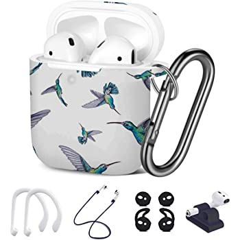 Shockproof Soft TPU Gel Case Cover with Keychain Carabiner for Apple AirPods Watercolor Colorful Feather Compatible with AirPods 2 and 1