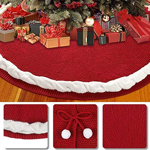 Aitsite Weihnachtsbaum Rock, Weihnachtsbaum Decke, Weihnachtsbaumdecke, Rund Weihnachtsbaum Röcke Xmas Weihnachtsschmuck, Gestrickter Rock Für Weihnachtsbaum Dekoration, 122cm/ 48inch