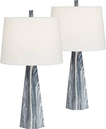Bluestone Faux Marble Modern Table Lamps Set of 2