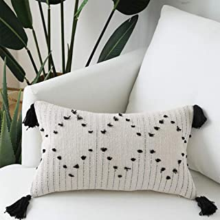 Decorative Boho Throw Pillow Covers - Black and White Woven Cotton Tassel Cushion Case - Lumbar Pillow Cover for Home, Party, Car, Office and Outdoor Decoration 12 x 20 Inch, Geometric