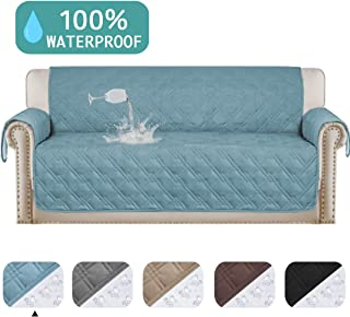 "Turquoize 100% Waterproof Oversized Quilted Sofa Cover for Leather Couch Protector Dog Sofa Slip Cover Protector for Living Room Stay in Place Pet Furniture Cover (Oversize Sofa 86""x 132"") Stone Blue"