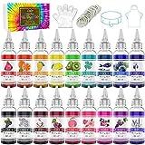 Tie Dye Kit 18 Colores - Pinturas Textiles Tela Vibrantes Tinte Graffiti para Pintura de Ropa DIY, Niño y Adultos - Tinte de Pintura Textil Todo En 1 para Shirts, Camisa, Bricolaje Tie-Dye, Fiesta