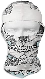 UTKYH Skull and Flowers Day of The Dead Mexican Traditional Celebration Outdoor Ski Face Mask Motorcycle Bike Breathable Full Face Mask Men and Women Balaclava Hood Hat