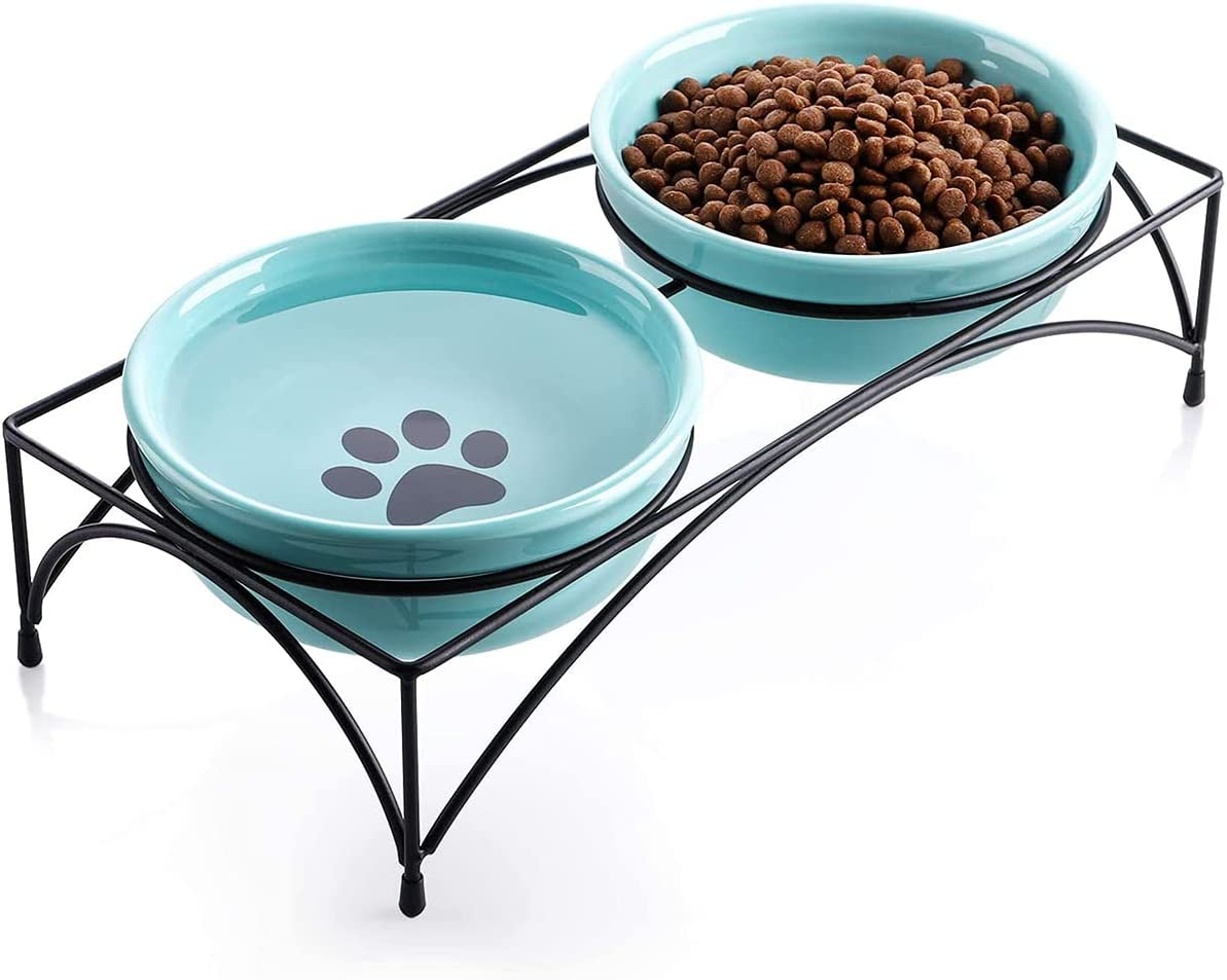 Blue Elevated Food Water Bowls Cat Very popular Dog Max 72% OFF Raised Pet