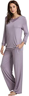 WiWi Bamboo Long Sleeve Moisture Wicking Sleepwear for Women Laced V Neck Pajamas Pants Set S-XXXXL(4XL)