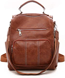 PYFauDD Ladies Rucksack School Bag Backpack Purse Anti Theft Leather Shoulder Bags, for Travel/School/Leisure… Leisure Travel (Color : Brown)