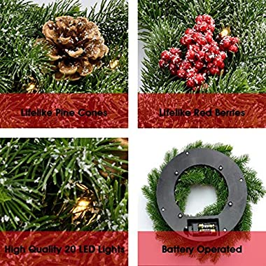 FRISTMAS Pre-Lit Cordless Wreath, Battery Operated 14 inch Wreaths for Front Door with 20 LED Warm Lights and Wreath Hanger/P