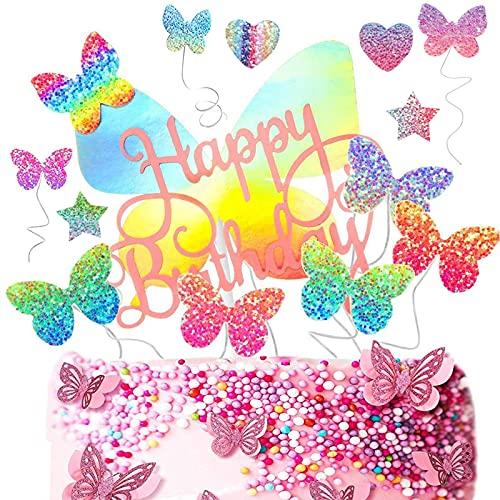 22 Pezzi Cake Topper Farfalla Buon Compleanno, Farfalla Topper Torta Per Bambini Compleanno Glitter, Torta con Farfalla Glitter Topper, Adatto per Feste di Compleanno, Feste di Famiglia