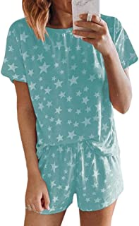 MU2M Womens Short Sleeve Star Print 2 Piece Outfits tee and Shorts Pajama Set