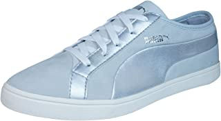 PUMA Kai Lo Nubuck Womens Leather Trainers/Shoes - Grey Silver