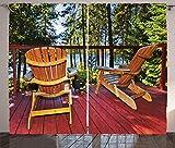 ABAKUHAUS Bosque Cortinas, Sillas de Adirondack en un pórtico, Sala de Estar Dormitorio Cortinas Ventana Set de Dos Paños, 280 x 260 cm, Multicolor