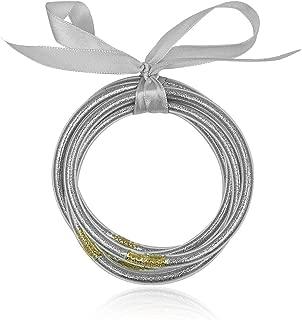 BELLEXIXI Glitter Jelly Bangle Bracelet Set - Gold Powder Lining Fashion Jewelry - Lightweight Cute Bracelets for Women Girl
