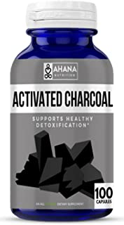 Ahana Nutrition Activated Charcoal Capsules for Detoxification, Gas, Hangovers & Teeth Whitening (450mg – 100 Capsules)