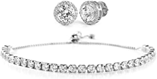 Sterling Silver Cubic Zirconia Adjustable Tennis Bracelet and Stud Bridal Earring Set for Women (Various Colors)