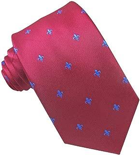 Corbata Seda Roja flor de Lis Azul. Corbata de seda para hombre ...