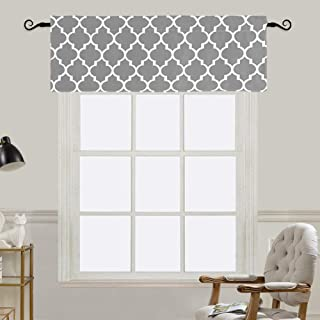 Jaoul Moroccan Valance for Windows of Kitchen Living Room Bedroom, Window Treatment Short Drapes Tile Print Half Curtains Top Drapes, Gray, W52 x L18