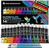 WEISBRANDT Ultra Color Arts & Crafts Acrylic Paint Set – 14 Premium Quality Pigments, Matte Finish, 0.4oz/12 ml Bottles, Water-Based - Art Supplies, DIY, Rich Impasto Body, For All Porous Surfaces