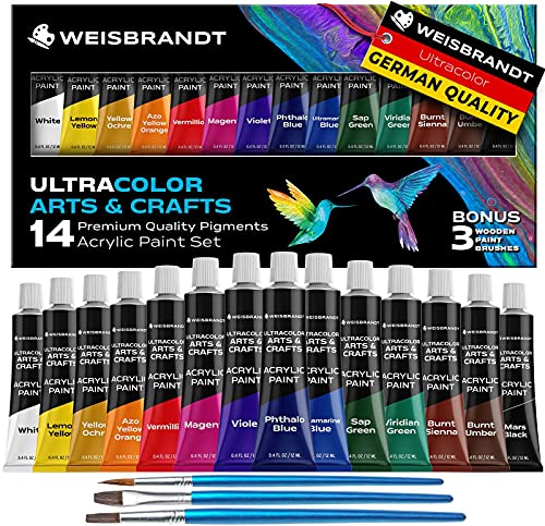 WEISBRANDT Ultra Color Arts & Crafts Acrylic Paints–14 Premium Quality Pigments, Matte Finish, 0.4oz/12 ml, Water-Based, for all Porous Surfaces