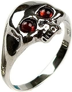 Amber Sterling Silver Skull Ring