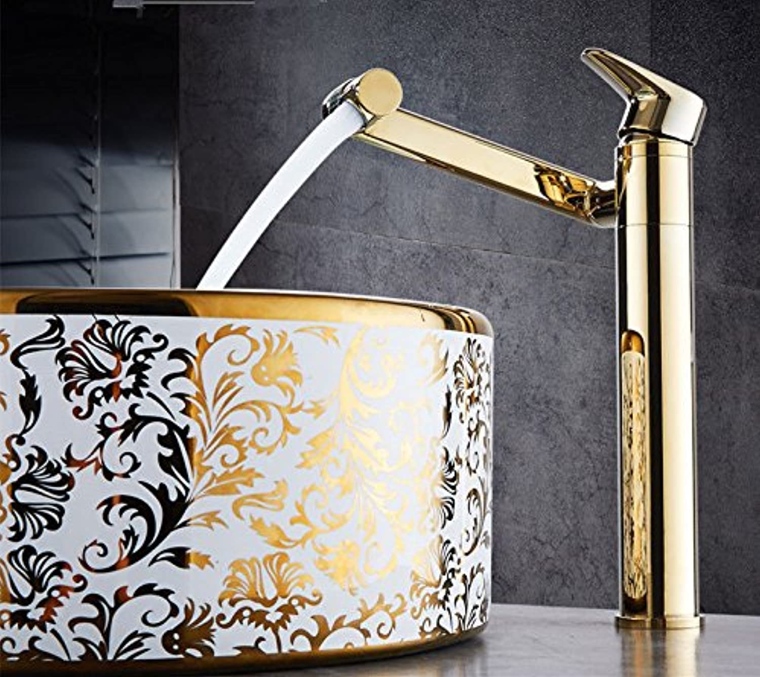 Modern simple copper hot and cold kitchen sink taps kitchen faucet Copper single hole basin faucet hot and cold redating gold Suitable for all bathroom kitchen sinks