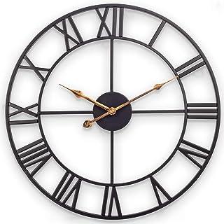 [ضخیم تر به روز شده در سال 2020] ساعت دیواری بزرگ ، ساعت مچی بزرگ اروپایی 30 اینچ با اعداد رومی ، ساعت مچی دکوراسیون داخلی فلزی با باتری ساکت و خاموش برای اتاق نشیمن ، اتاق خواب ، آشپزخانه - مشکی