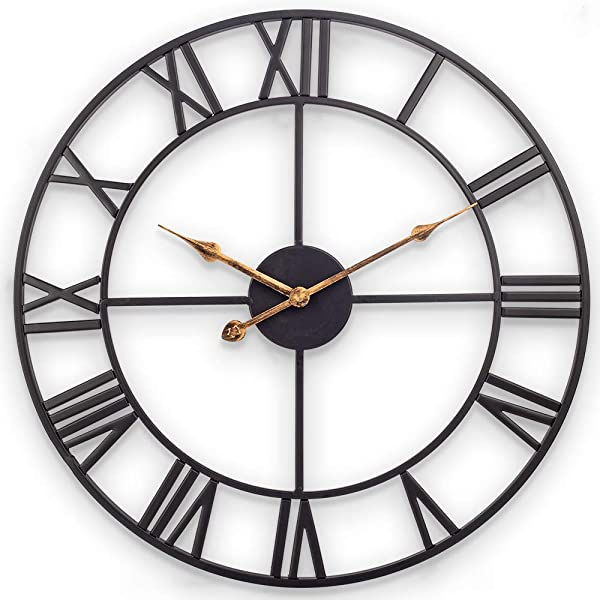 Large Wall Clock 30 Inch European Retro Clock With Large Roman Numerals Indoor Silent Battery Operated Metal Decorative Clock For Home Loft Living Room Kitchen Den Classical Black