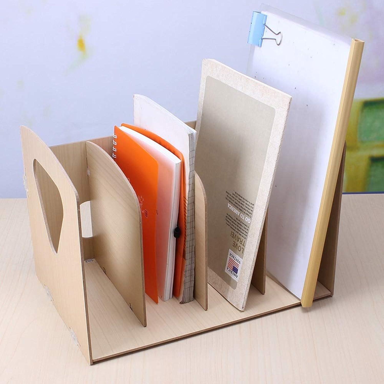 GaoJinZhuan B&uu ;robedarf Desktop-Dateihalter Vier-File-Storage-Holz Tragbare Datenleiste Große Kapazit&au ;t (Farbe   Holzfarbe) B07MR2X8C6 | Moderner Modus