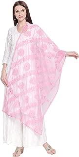 Dupatta Bazaar Woman's Lucknowi Embroidered Net Dupatta
