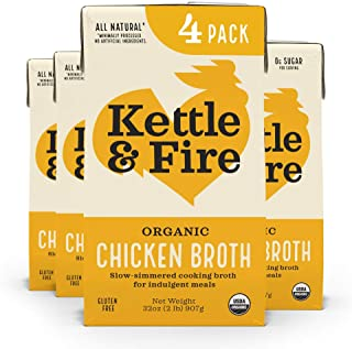Sponsored Ad - Chicken Broth by Kettle and Fire, Cooking Broth and Stock, Organic, High Protein, Keto Friendly, Whole30 Ap...