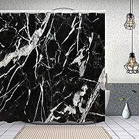 シャワーカーテン黒大理石マルキーナの本質的な要約の多くの白い模様のナチュラル 防水 目隠し 速乾 高級 ポリエステル生地 遮像 浴室 バスカーテン お風呂カーテン 間仕切りリング付のシャワーカーテン 150 x 180cm