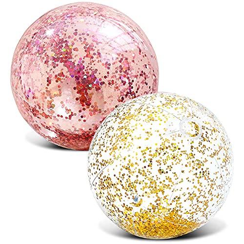 CYSJ Aufblasbarer Strandball, Glitzerkonfetti, Strandball, Transparenter Wasserball Aufblasbarer Ball Glitzer Party Wasserball, Aufblasbar Wasserpool Kinder Ball Für Erwachsene (2 Stück)