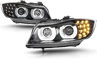 VIPMOTOZ DTM Style Halo Ring Black Housing Projector Headlight Headlamp Assembly For 2009-2011 BMW 3-Series E90 E91 LCI Sedan Wagon Adaptive Xenon HID Model, Driver & Passenger Side