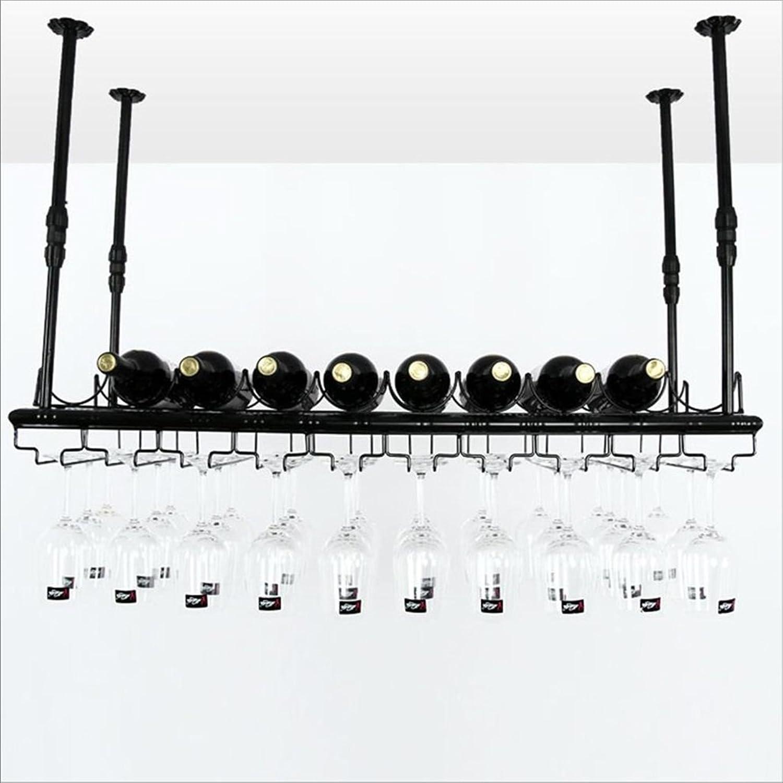Cabinets L cuelga Vino Estante de Cristal, Retro suspensión Colgante sostenedor de Taza Arte de Hierro Colgante stemware Rack (Color   negro, Tamaño   80  35cm)