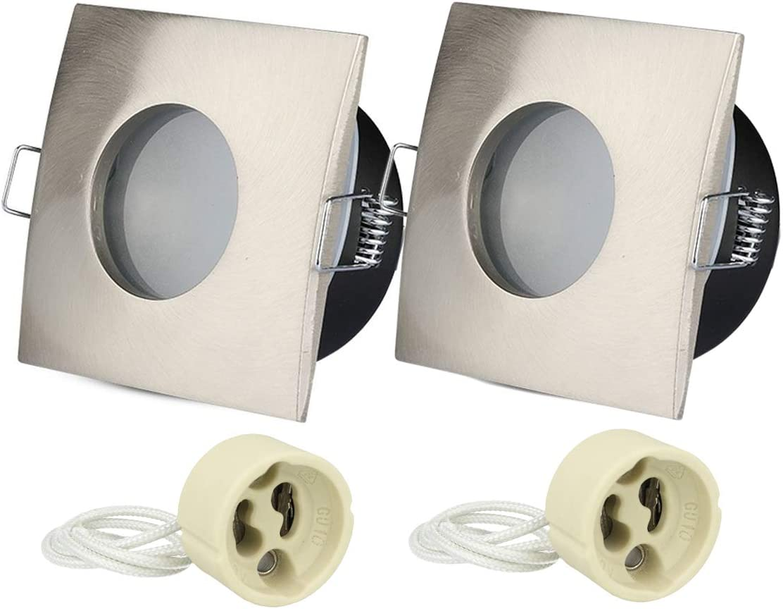 LEDLUX 2 unidades de portal/ámparas impermeables IP54 para ducha cabina ba/ño debajo del techo orificio de 75 mm portal/ámparas GU10 incluidos