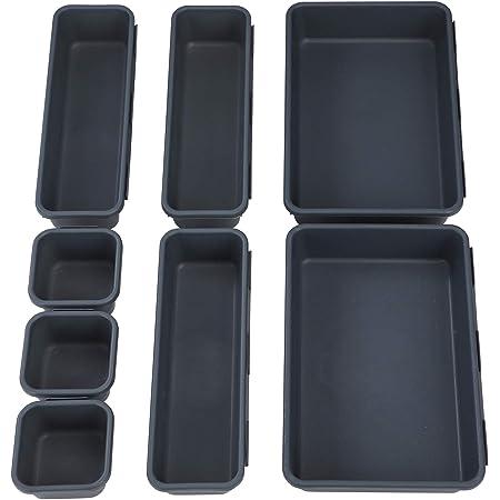 Plateaux de Rangement pour Tiroir de Bureau, Cosmétiques Diviseur Organisateur en Plastique avec Boîtes 3 Tailles pour Bureau et Coiffeuse, la Cuisine, Bureau (Lot de 8 )