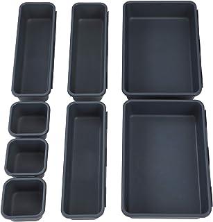 Plateaux de Rangement pour Tiroir de Bureau, Cosmétiques Diviseur Organisateur en Plastique avec Boîtes 3 Tailles pour Bur...